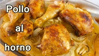 receta POLLO AL HORNO CON PAPAS Y CEBOLLA – recetas de cocina faciles rapidas y economicas