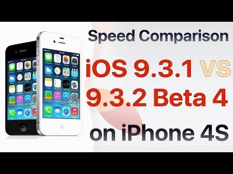 iPhone 4S iOS 9.3.1 vs iOS 9.3.2 Beta 4 / Public Beta 4 Build #13F68 Speed Comparison