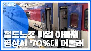 철도노조 파업 이틀째...열차 운행률 76.5%·KTX…