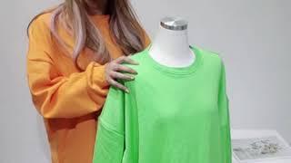 [언니믿지] 형광 빅사이즈 기모 맨투맨 (3가지 색상)