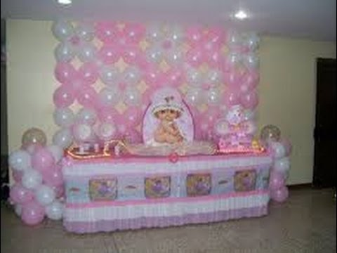 Decoracion con globos para baby shower youtube for Decoracion para baby shower en casa
