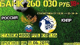 Россия - Кипр / Прогноз на 11.06.19 / Ставка 4000 рублей.