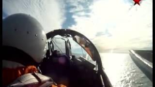 Landing on an aircraft carrier (cockpit view)