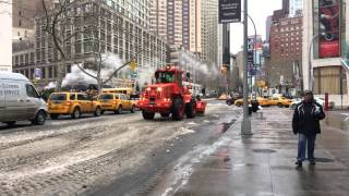 DSNY, NEW YORK CITY DEPARTMENT OF SANITATION, USING FRONT LOADER & DUMP TRUCK/SALT SPREADER PLOW.