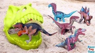 Dinosaur Toys in the Sandbox!  Tyrannosaurus Rex Triceratops Toy Dinos For Kids