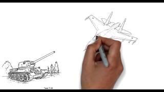 Как нарисовать танк, самолет, корабль.
