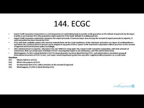 144. ECGC (Export Credit Guarantee Corporation)