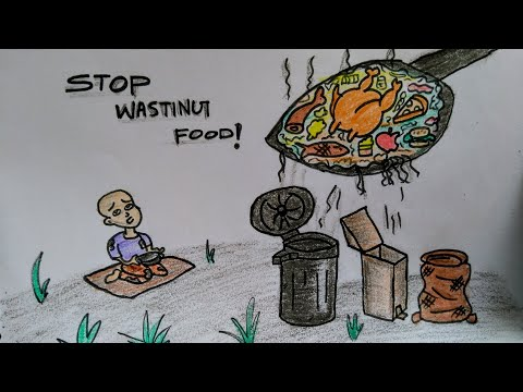 Food Wasting | Stop Wasting Food Drawing video | How To Draw for  Stop Wasting Food?