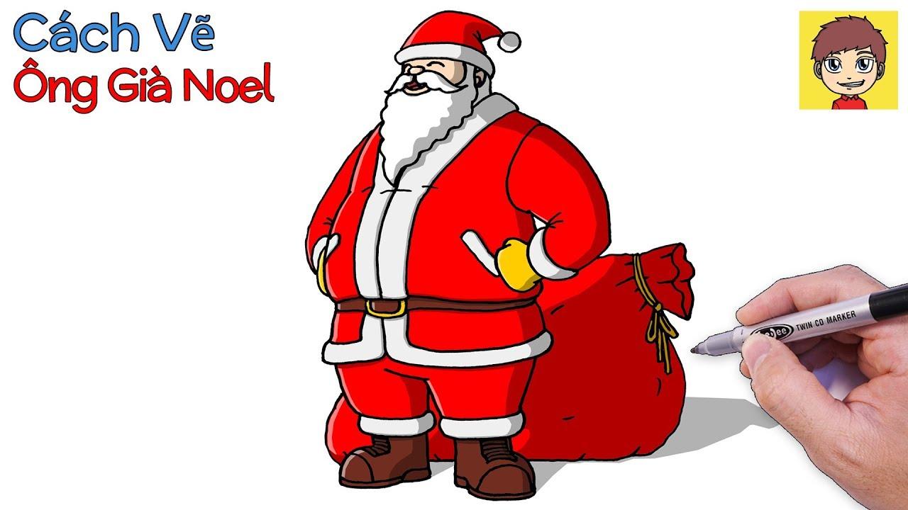Cách vẽ Ông Già Noel với túi quà to bự – Tôi Yêu Vẽ