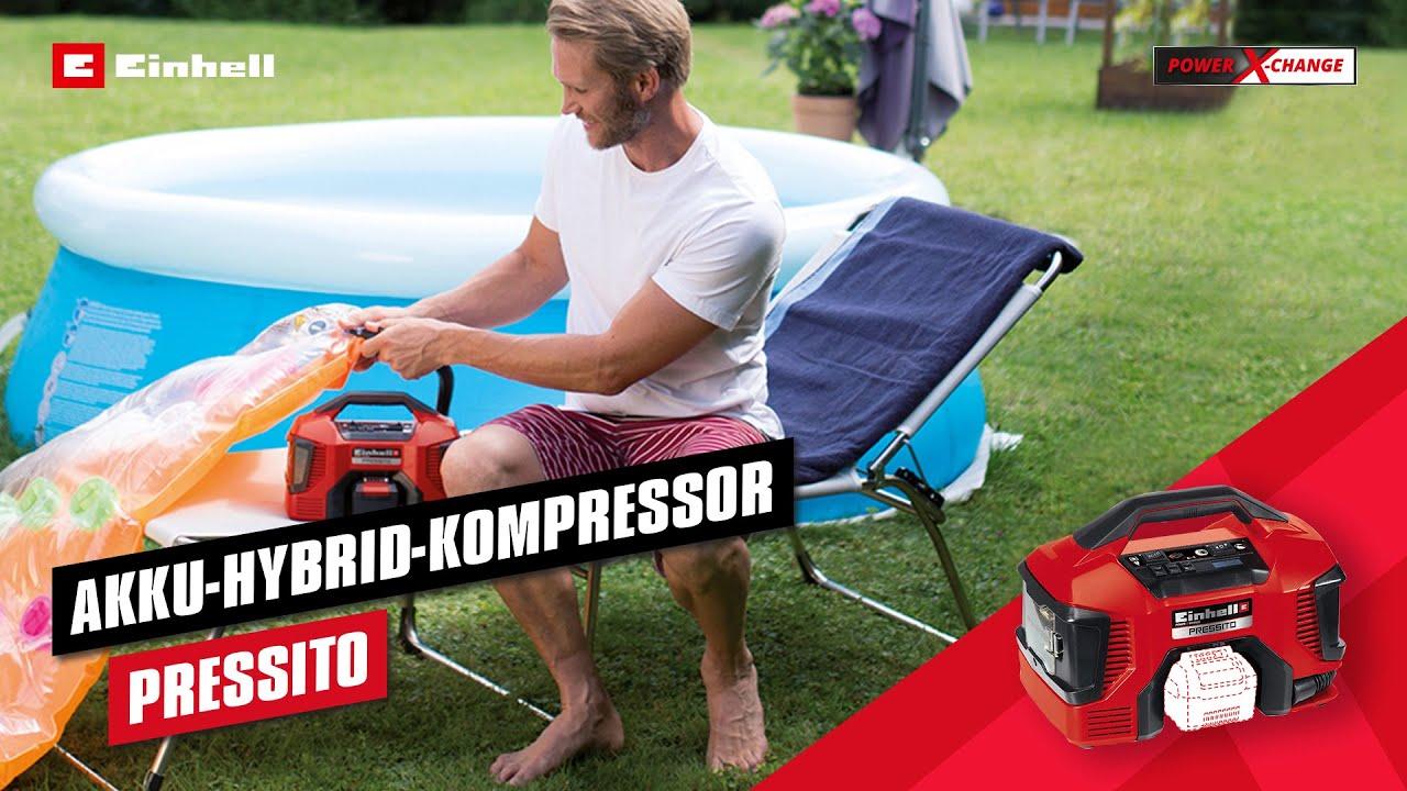 Lader Einhell Pressito Hybrid-Kompressor Stromkabel Akkubetrieb 18V 3.0Ah Akku