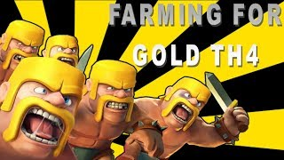 Clash Of Clans Farming Strategy TH4(Town Hall 4)ALL BARBARIAN