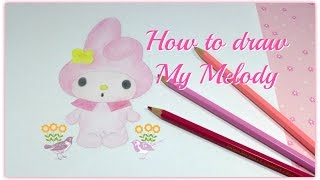 How to Draw Sanrio My Melody Cartoon Colored Pencil Drawing