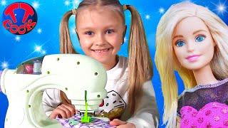 Новая Игрушка для Ярославы - Швейная Машина, шьем платье для КУКЛЫ Барби Barbie Doll