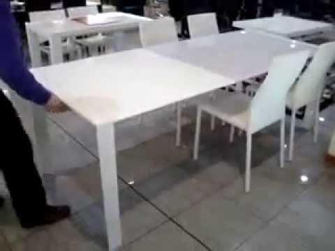 Tavolo Allungabile Laccato Bianco.Tavolo Allungabile Londra Beat Laccato Bianco Cristallo Extra