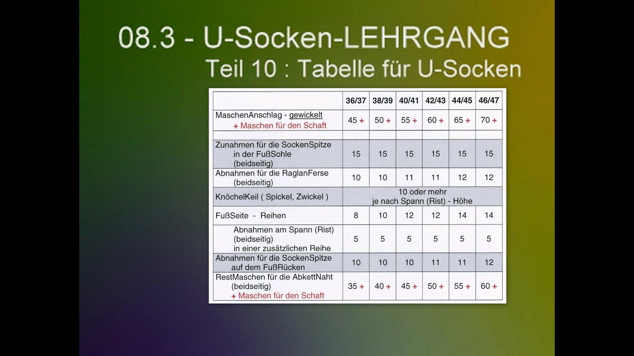Fabulous 08.3 - U-Socken-LEHRGANG - 10 : Tabelle - YouTube MK91