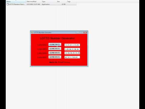 lotto number generator (FREE DOWNLOAD at Megaupload)