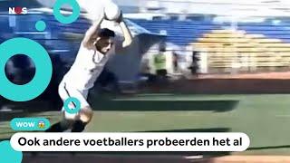 Iraanse voetballer scoort met spectaculaire salto-ingooi