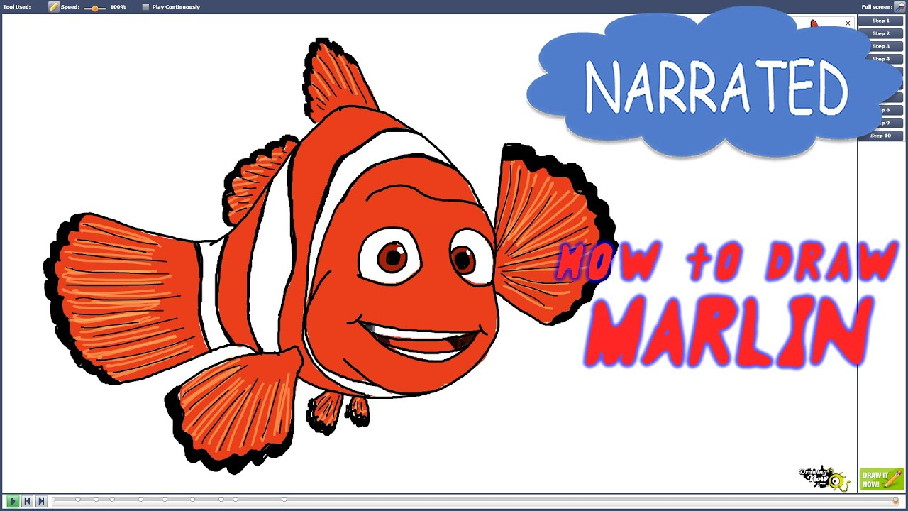 How to Draw Marlin from Finding Dory (NARRATED) - YouTube