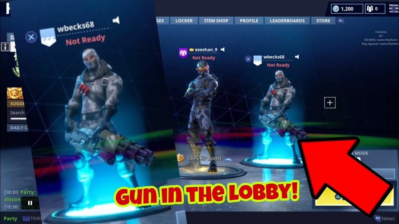Fortnite Battle Royale Glitch New Hold Gun In Lobby Ps4xbox One 2018