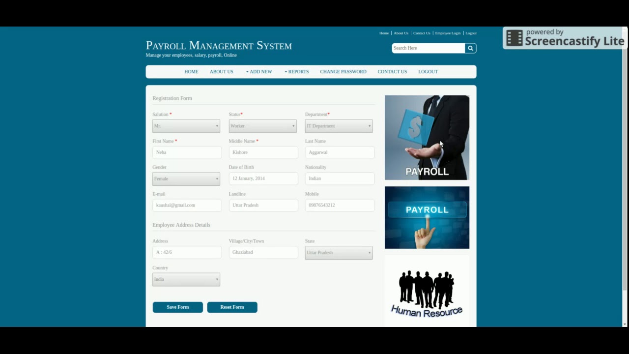 Java, JSP and MySQL Project on Employee Payroll System