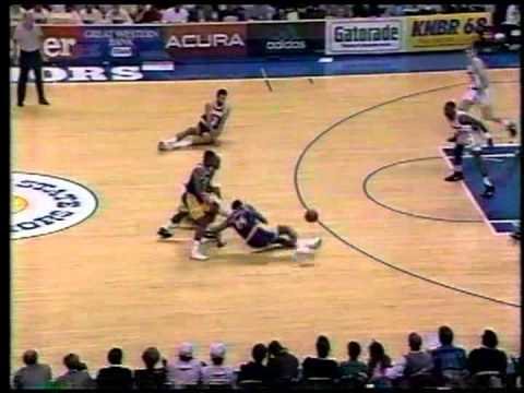 Chris Mullin smooth fadeaway J and dunk - Lakers @ Warriors - 1991/92