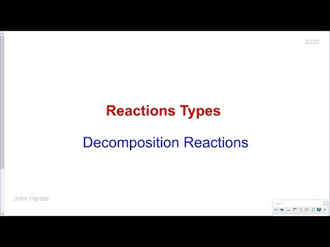 Reaction Types: Decomposition Reactions (2020)