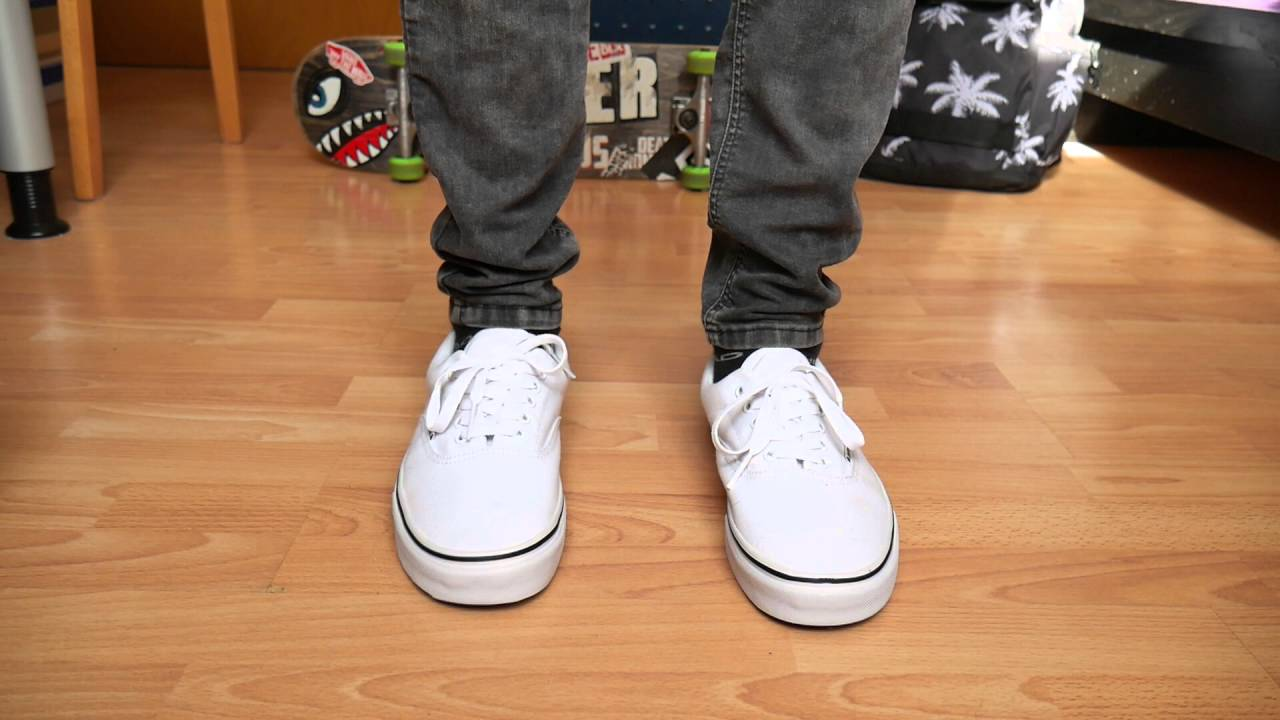 vans authentic true white on feet