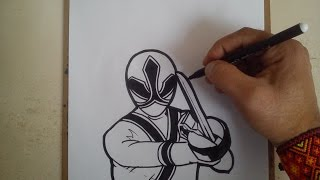 COMO DIBUJAR POWER RANGER ROJO SAMURAI / how to draw power ranger samurai red