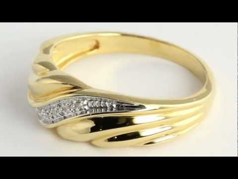 Men's Diamond Accent Wedding Band 18k Gold Over Sterling Silver. http://bit.ly/377csoh