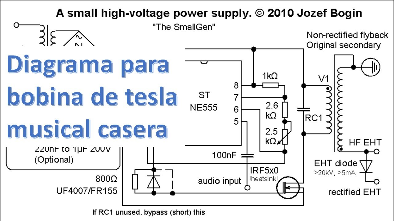 Circuito Oscilador : Como hacer bobina de tesla musical casera diagrama del circuito