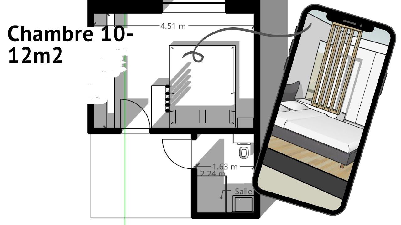 chambre 10m2 a 12m2 plan d amenagement fonctionnel