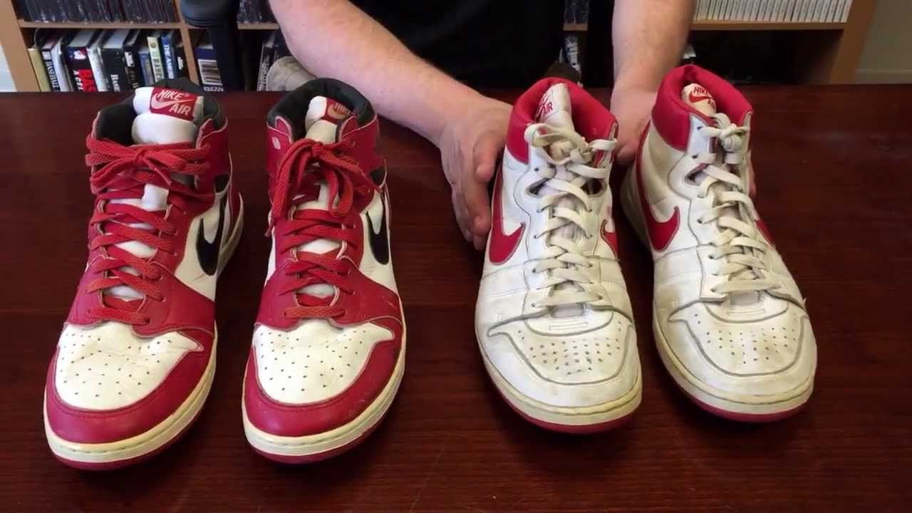 buy popular 25fc6 7551d ShoeZeum Comparing Michael Jordan s Game Worn Nike Air Ships With His Game  Worn Air Jordan 1s