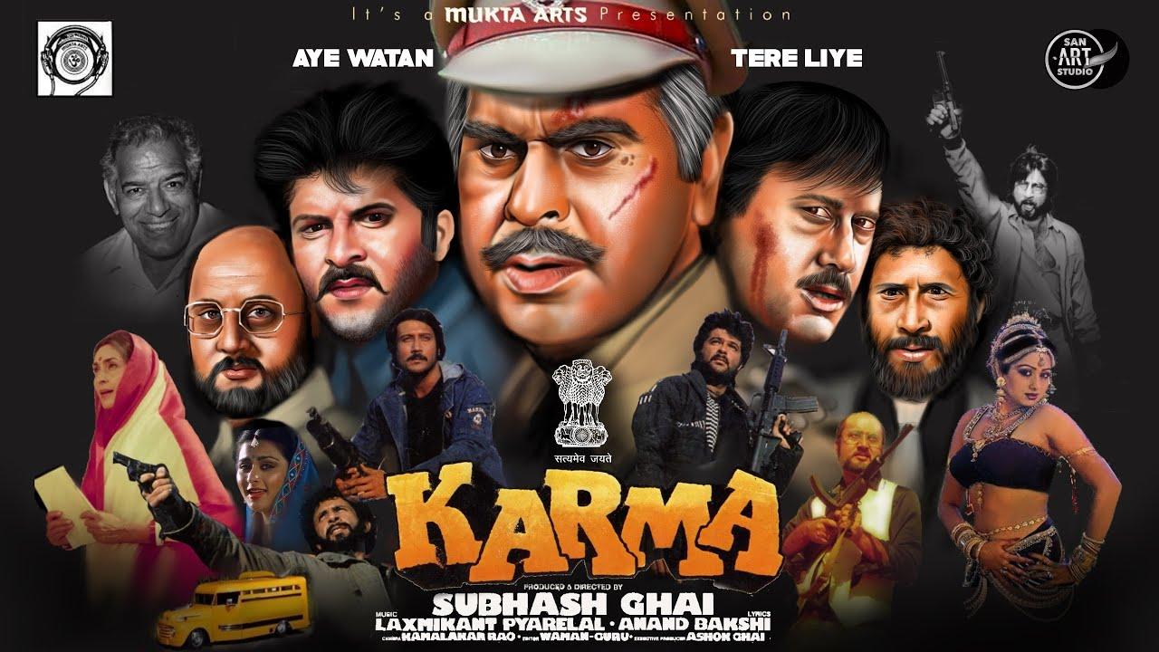 Download KARMA 1986   Dilip Kumar   Anil Kapoor   Jackie Shroff   NaseerUddin   Sridevi   Procreate Drawing
