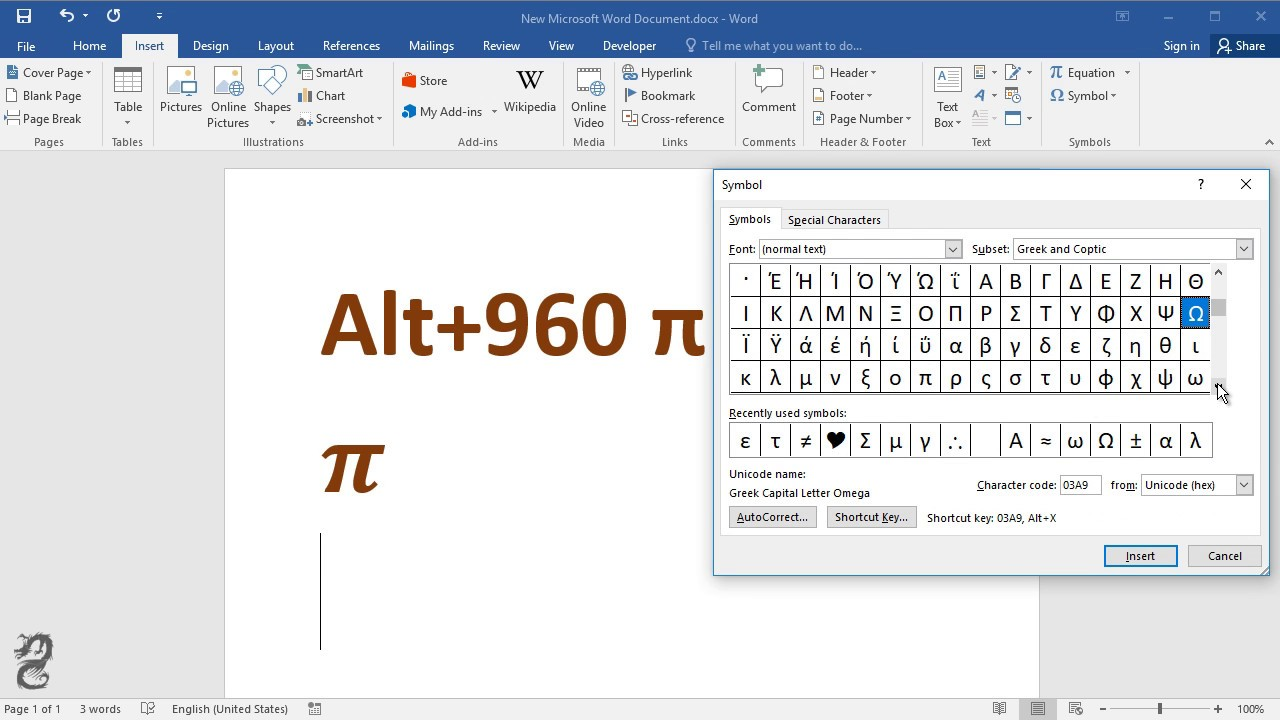 How To Type Pi Symbol In Word Youtube