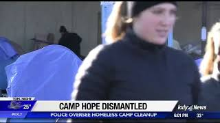 Homeless leave Spokane City Hall as police oversee cleanup at Camp Hope