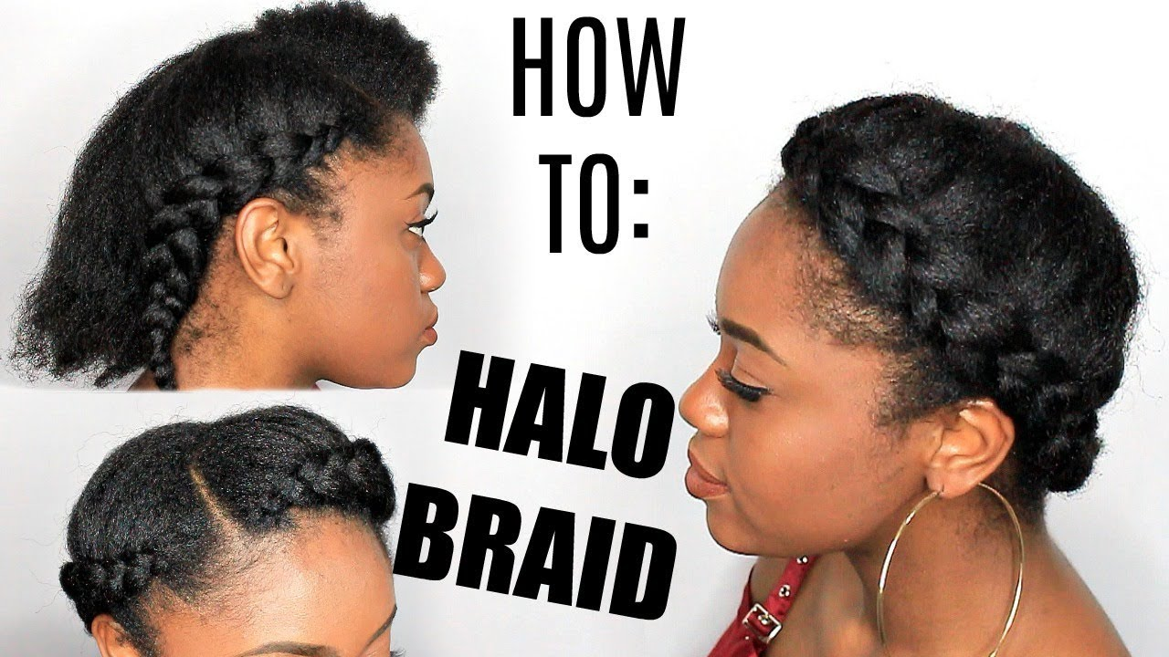 How To Halo Braid On Stretched Natural Hair Youtube