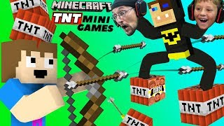 FGTEEV MINECRAFT TNT Mini-Games! (Bow Spleef, TNT Race Run & More Hypixel)