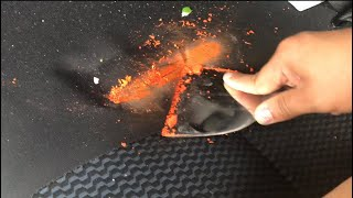 Removing melted crayon 🖍 from the car 💺 seat