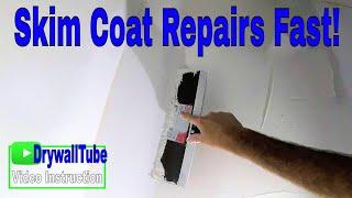 How to skim coat new drywall on a drywall repair: Diy drywall tips