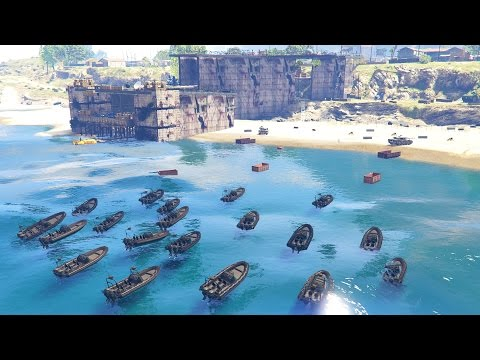 GTA 5 - Military ARMY Patrol #10 - D-DAY (Beach Landing, Missile Defense, Armored SUV)