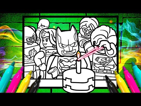 LEGO BATMAN Birthday Coloring page   DC comics Justice League Coloring