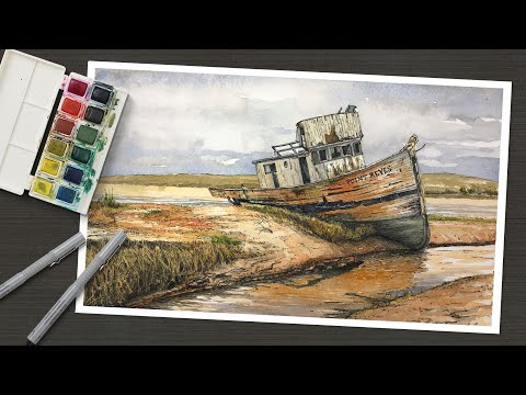 line-and-wash---pen-and-ink-and-watercolor---old-boat