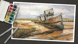 Line and Wash - PËN AND INK and WATERCOLOR - Old Boat