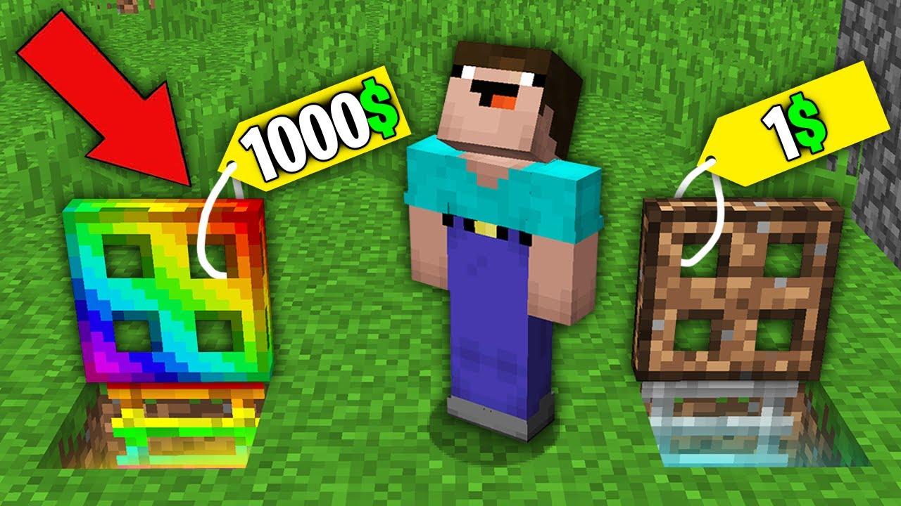 Minecraft NOOB vs PRO: NOOB BOUGHT RAINBOW TRAPDOOR FOR 1000$ VS DIRT TRAPDOOR FOR 1$! 100% trolling