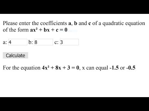 JavaScript Solve A Quadratic Equation Using A HTML Form Tutorial