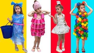 قصة ممتعة للأطفال كيف يصنع الأب لفساتين جديدة ويتظاهر الأطفال باللعب بالألعاب والمكياج للفتيات