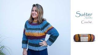 Suéter em Crochê Adulto passo a passo