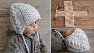 Детская шапочка шлем «Медовые соты» спицами 🙃 Baby's hat beanie