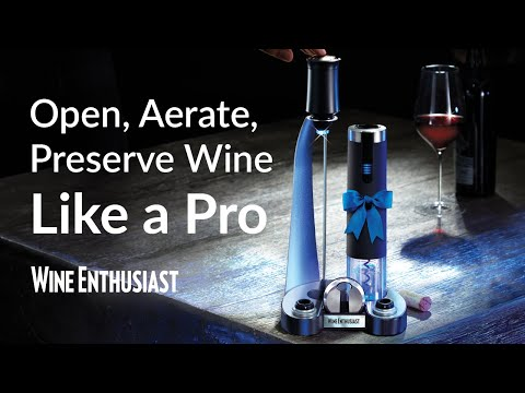 Electric Blue Pro All In-One Automatic Wine Opener, Preserver & Electric Aerator 6-Piece Set