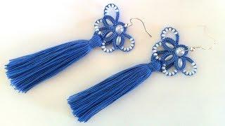 Серьги кисточки фриволите иглой, анкарс. МК для начинающих. DIY Earrings tassels to frivolite needle